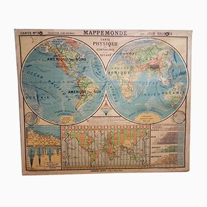 No. 24 Political & Topographical World Map by Jean Brunhes