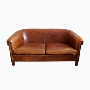 Canapé Vintage en Cuir de Mouton de Lounge Atelier