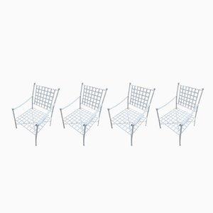 Spanische Gartenstühle aus geflochtenem Eisen, 1970er, 4er Set