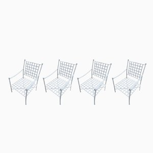 Spanish Braided Iron Garden Armchairs, 1970s, Set of 4