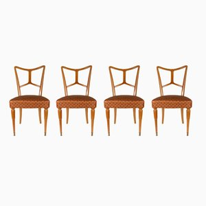 Italian Wooden Dining Chairs, 1940s, Set of 4