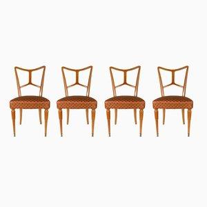 Italienische Esszimmerstühle aus Holz, 1940er, 4er Set
