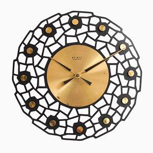 Orologio da parete vintage in ottone di Weimar, anni '60