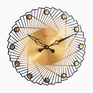 Modern Large Brass Wall Clock from Weimar, 1960s