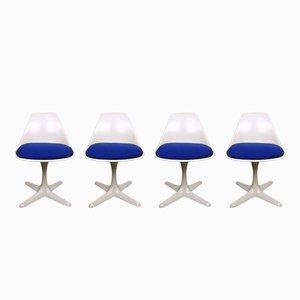 Chaises Pivotantes Modèle 115 Vintage Blanches par Maurice Burke pour Arkana, 1960s, Set de 4