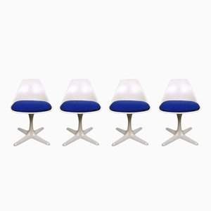 Vintage Model 115 White Swivel Chairs by Maurice Burke for Arkana, 1960s, Set of 4