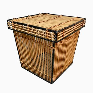 Small Vintage Metal and Rattan Storage Basket by Dirk Van Sliedregt for Rohé Noordwolde, 1960s