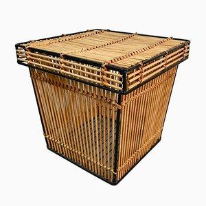 Small Vintage Metal and Rattan Storage Basket by Dirk Van Sliedregt for Rohé Noordwolde, 1960s