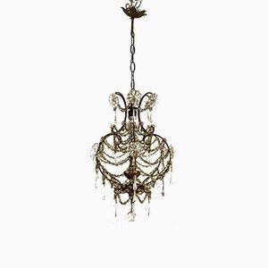 Lámpara de araña vintage con macaroni de cristal de Murano, años 50