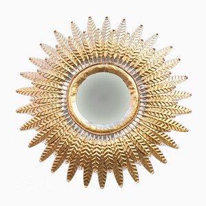 Specchio Mid-Century dorato a forma di sole