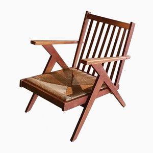 Sedia vintage in legno e vimini, anni '50