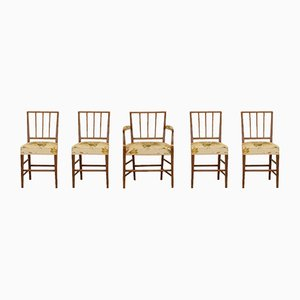 19th-Century Royal Dining Chairs with Floral Upholstery, Set of 5