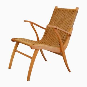 Vintage Dutch Wood & Rush Chair, 1957