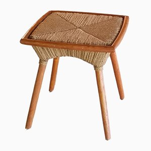 Wood & Rope Side Table, 1950s