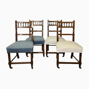 Antique Carved Oak Chairs on Wheels, Set of 4