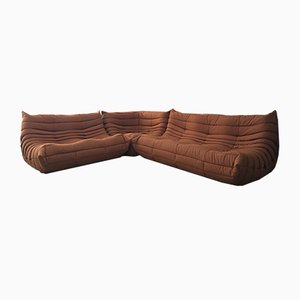 Brown Orange Togo Sofa Set by Michel Ducaroy for Ligne Roset, 1970s
