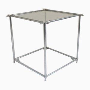 Mesa auxiliar minimalista cuadrada de vidrio y metal de dos niveles, años 60