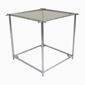 Minimalist 2-Tier Square Metal & Glass Side Table, 1960s