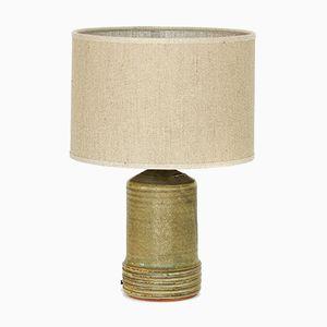 Lámpara de mesa sueca de gres esmaltado y lino de Rolf Palm, años 60