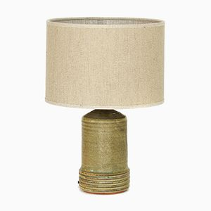 Swedish Glazed Stoneware & Linen Table Lamp by Rolf Palm, 1960s