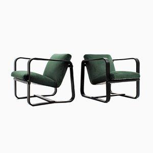 Velvet Easy Chairs by Giuseppe Pagano Pogatschnig & Gino Maggioni, 1940s, Set of 2