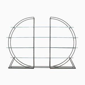 Modernes 2-teiliges Regal aus Eisen & Glas, 1960er