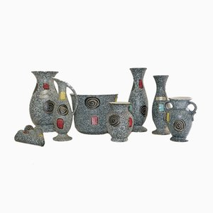 West German Pottery Set from Scheurich, 1950s, Set of 8