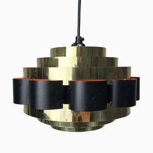 Lámpara colgante danesa vintage de latón, años 60