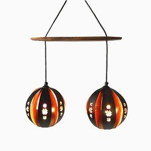 Dänische Deckenlampe aus Kupfer von Werner Schou für Coronell Elektro, 1960er
