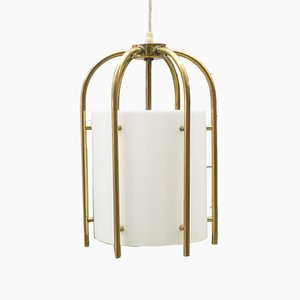 Brass and Plexiglas Church Pendant Lamp, 1960s
