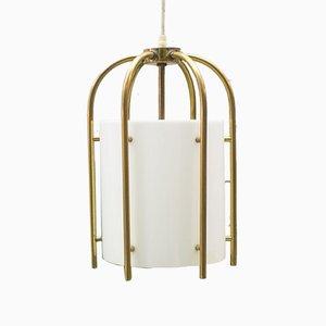 Lámpara colgante de iglesia de latón y plexiglás, años 60