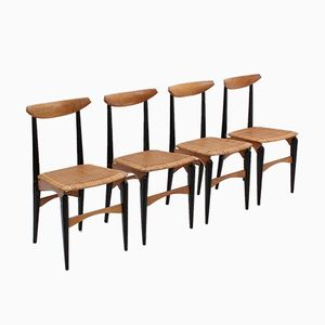 Chaises de Salon Mid-Century avec Sièges en Paille, Italie, Set de 4