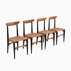 Sillas de comedor italianas Mid-Century con asientos de paja. Juego de 4