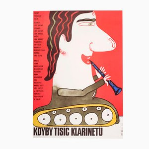 Vintage Czech If a Thousand Clarinets Movie Poster by Karel Vaca, 1983