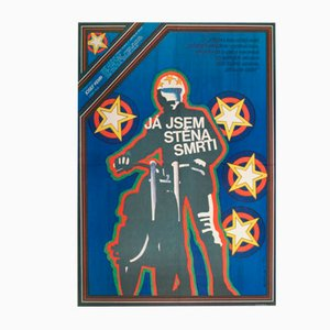 Poster vintage del film The Wall of Death di Jaroslav Fišer, Repubblica Ceca, 1978