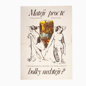 Affiche de Film Mathew, Why Don't Girls Want You Vintage par Milan Grygar, Tchéquie, 1981