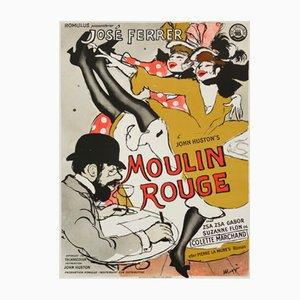 Póster danés vintage de la película Moulin Rouge de Maggi Baaring, 1955