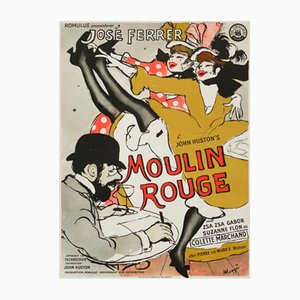 Vintage Danish Moulin Rouge Movie Poster by Maggi Baaring, 1955