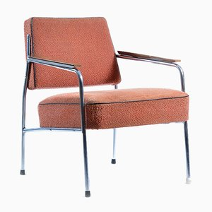 Chrome and Pink Fabric Brussel Style Armchair, 1960s