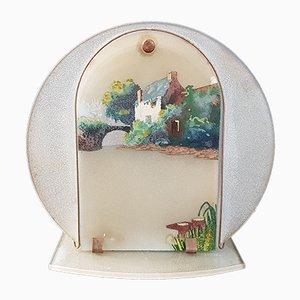 Linterna mágica francesa Mid-Century de vidrio y acero, años 40