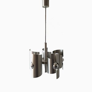 French Space Age Brushed Steel Chandelier, 1970s