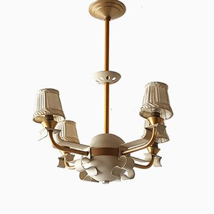 Mid-Century French Steel & Brass Chandelier, 1940s