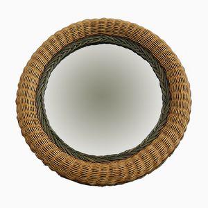 Mid-Century Round Rattan Mirror