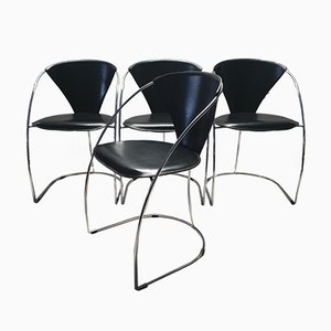 Minimalistic Chrome Dining Chairs from Arrben, 1980s, Set of 4