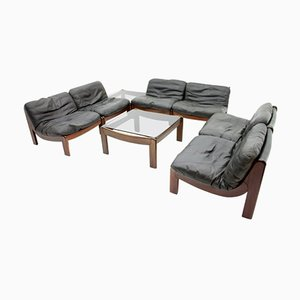Large Mahogany and Black Leather Modular Living Room Set, 1970s