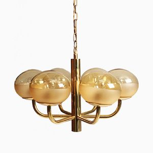 Vintage Brass and Glass Chandelier