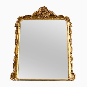 Antique Louis XV French Gilt Wood Mantle Mirror