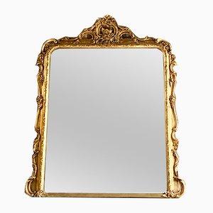 Specchio da camino antico Luigi XV in legno dorato