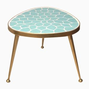 German Brass & Mosaic Kidney Table, 1950s