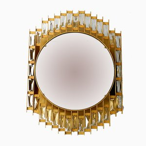 Golden Metal & Crystal Glass Backlit Mirror from Hillebrand Lighting, 1960s